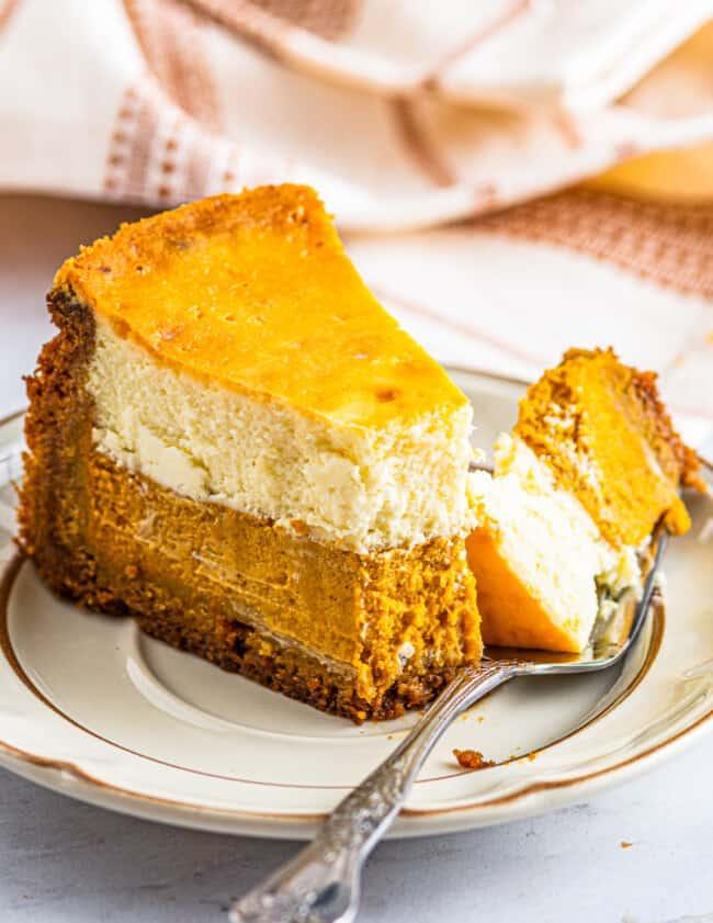 bite of pumpkin pie cheesecake