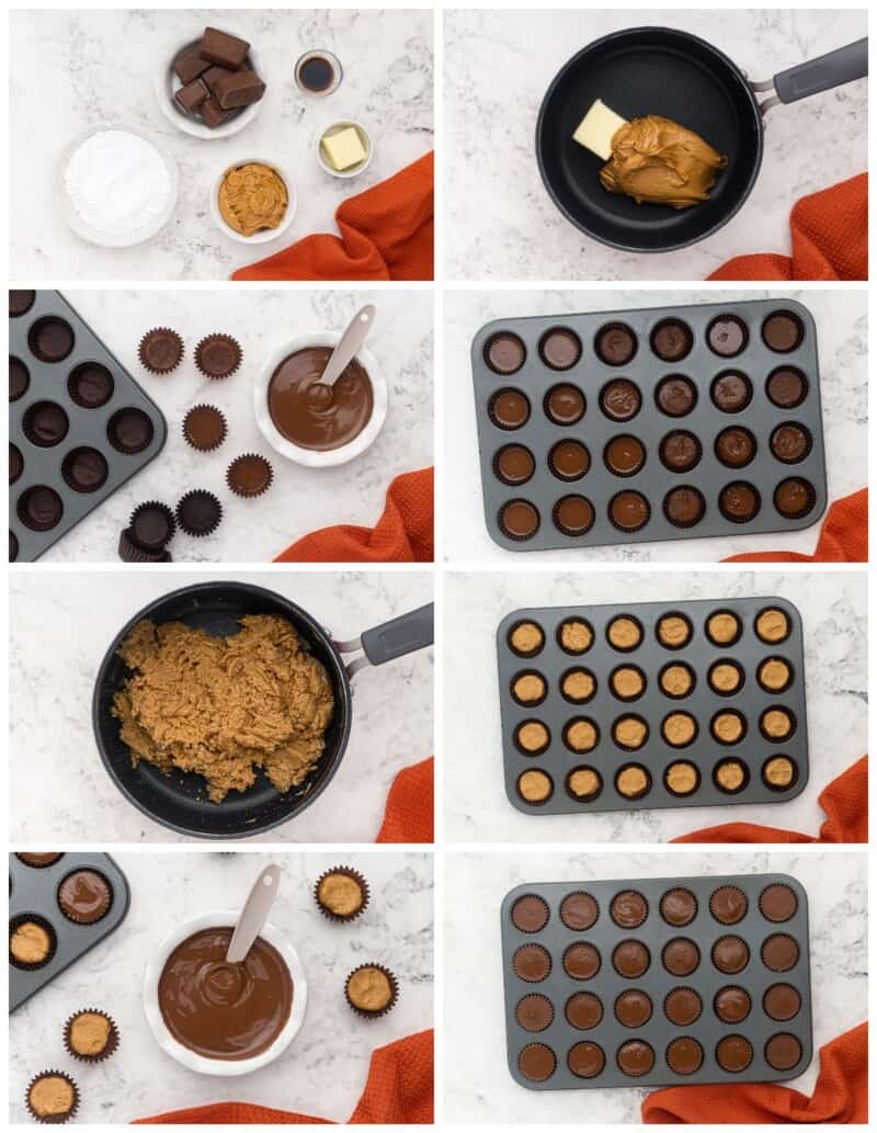 step by step photos for how to make homemade peanut butter cups