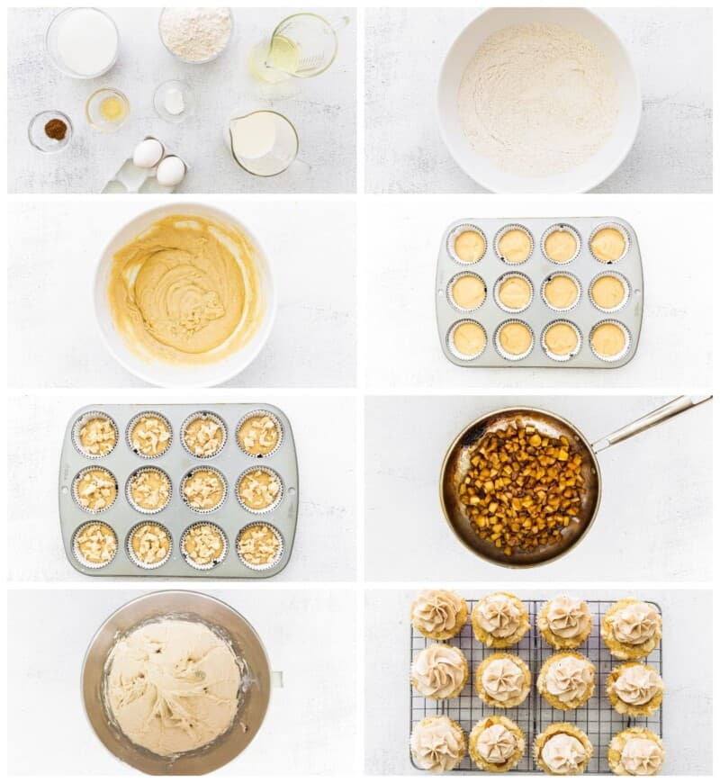 step by step photos of how to make apple pie cupcakes