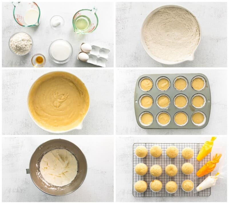 step by step photos for how to make candy corn cupcakes