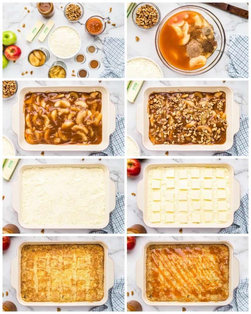 step by step photos for how to make caramel apple dump cake