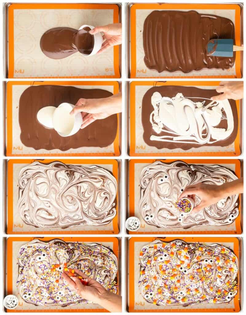 step by step photos for how to make chocolate halloween bark