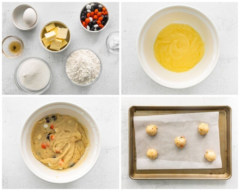 step by step photos for how to make halloween m&m cookies