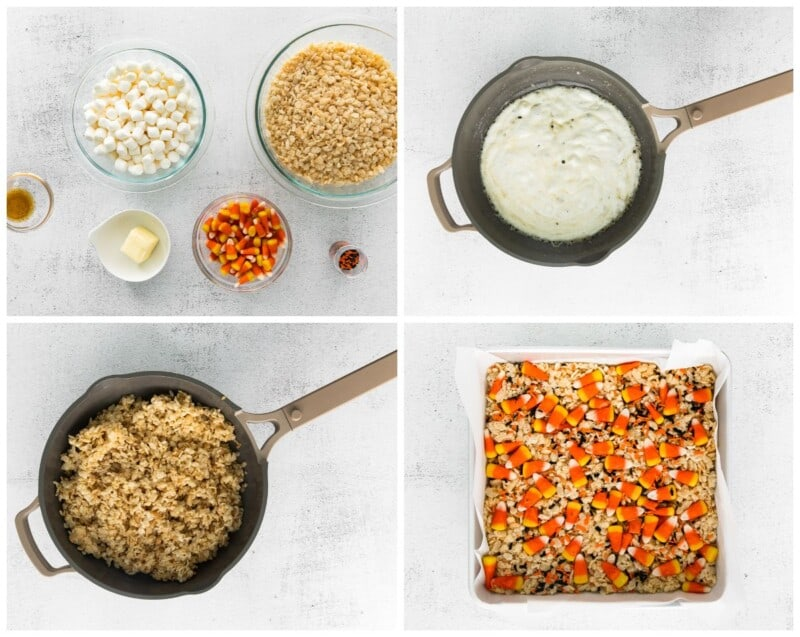 step by step photos for how to make halloween rice krispie treats