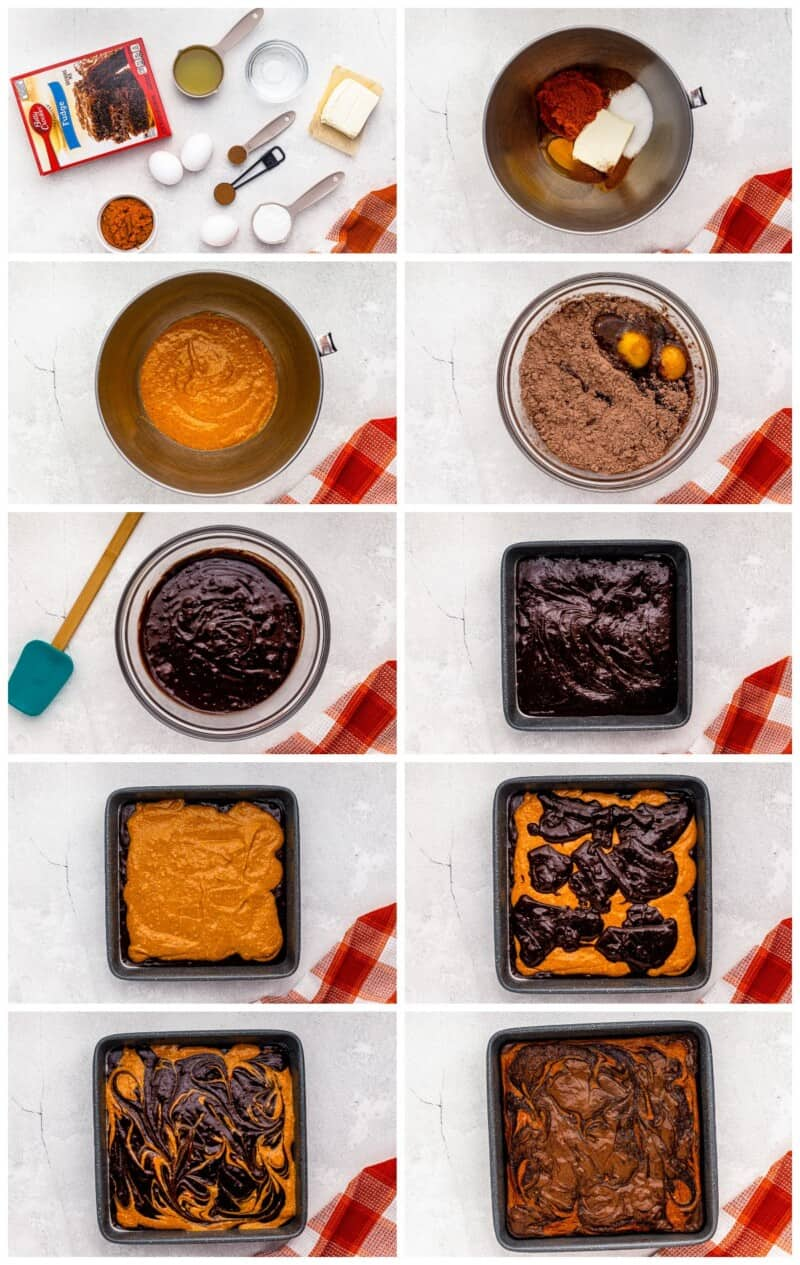 step by step photos for how to make pumpkin brownies