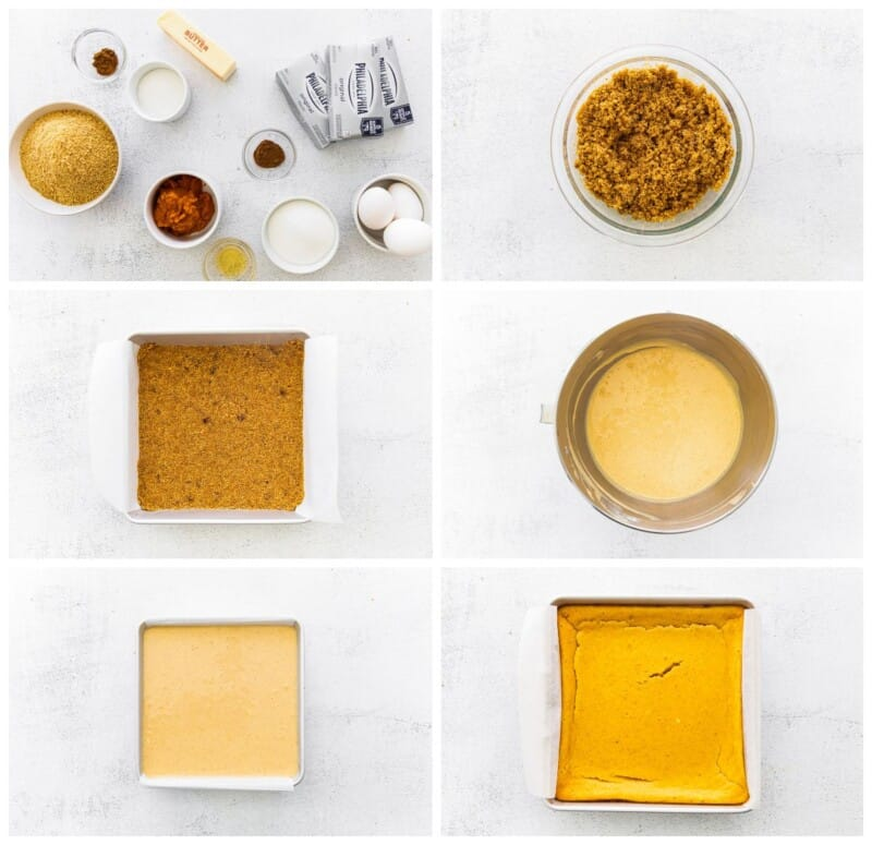 step by step photos for how to make pumpkin cheesecake bars